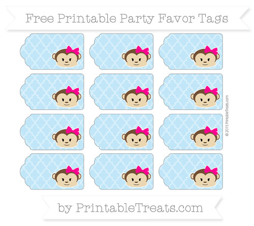 Free Baby Blue Moroccan Tile Girl Monkey Party Favor Tags
