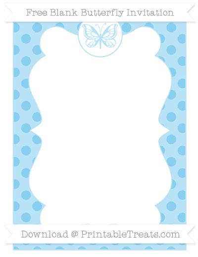 Free Baby Blue Polka Dot Blank Butterfly Invitation