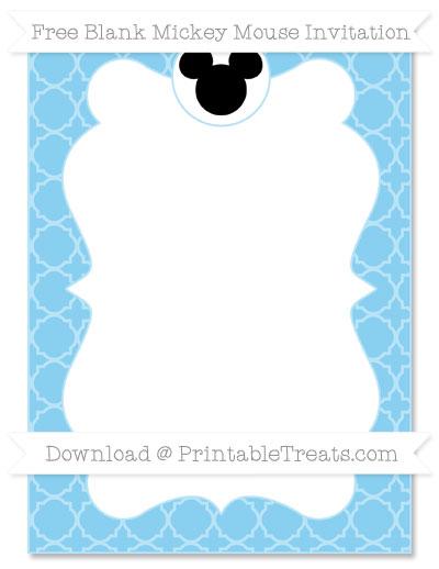 Free Baby Blue Quatrefoil Pattern Blank Mickey Mouse Invitation