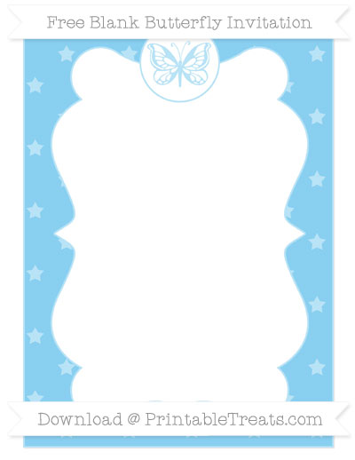 Free Baby Blue Star Pattern Blank Butterfly Invitation