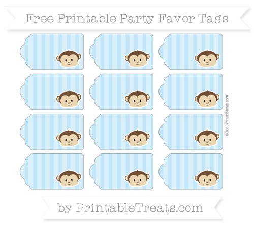 Free Baby Blue Striped Boy Monkey Party Favor Tags