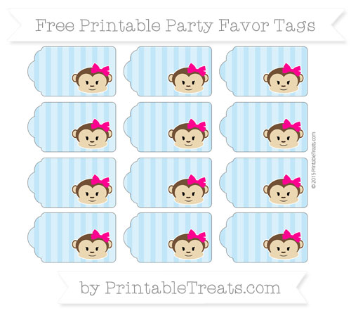 Free Baby Blue Striped Girl Monkey Party Favor Tags