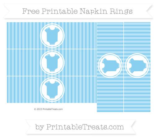 Free Baby Blue Thin Striped Pattern Baby Onesie Napkin Rings