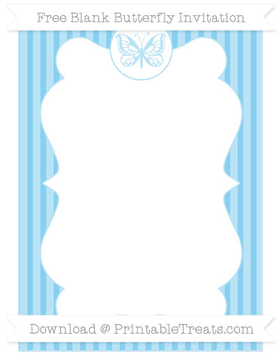 Free Baby Blue Thin Striped Pattern Blank Butterfly Invitation