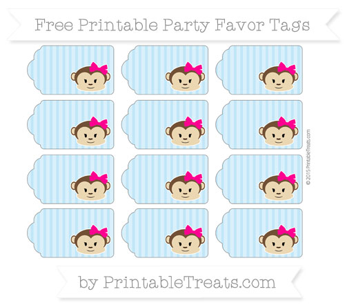 Free Baby Blue Thin Striped Pattern Girl Monkey Party Favor Tags