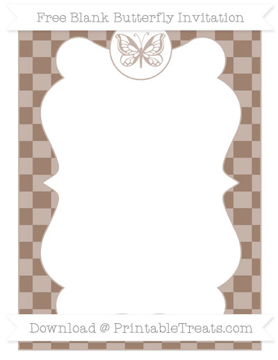 Free Beaver Brown Checker Pattern Blank Butterfly Invitation