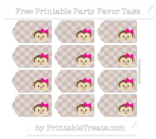 Free Beaver Brown Checker Pattern Girl Monkey Party Favor Tags