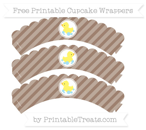 Free Beaver Brown Diagonal Striped Baby Duck Scalloped Cupcake Wrappers