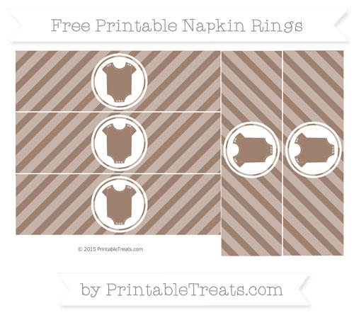 Free Beaver Brown Diagonal Striped Baby Onesie Napkin Rings