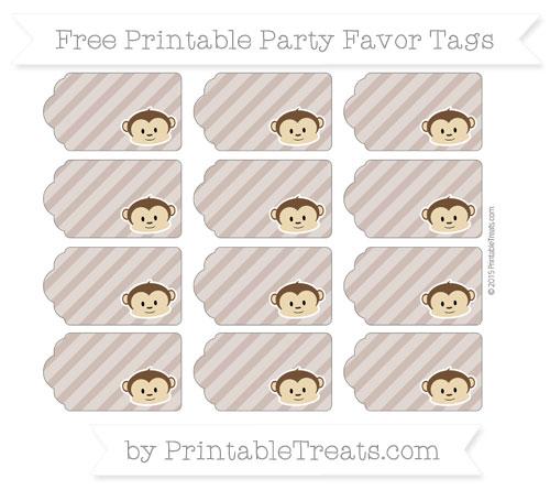 Free Beaver Brown Diagonal Striped Boy Monkey Party Favor Tags