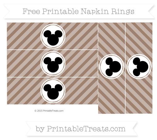 Free Beaver Brown Diagonal Striped Mickey Mouse Napkin Rings