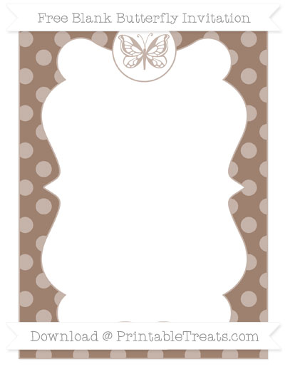Free Beaver Brown Dotted Pattern Blank Butterfly Invitation