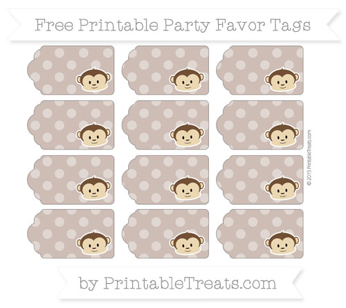 Free Beaver Brown Dotted Pattern Boy Monkey Party Favor Tags
