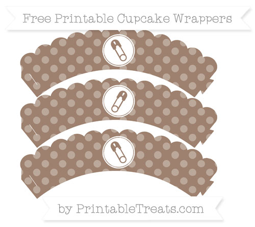 Free Beaver Brown Dotted Pattern Diaper Pin Scalloped Cupcake Wrappers