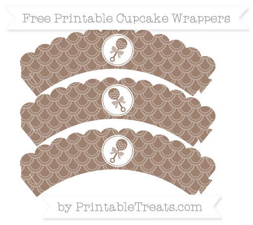 Free Beaver Brown Fish Scale Pattern Baby Rattle Scalloped Cupcake Wrappers