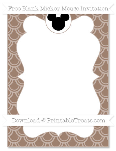 Free Beaver Brown Fish Scale Pattern Blank Mickey Mouse Invitation