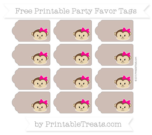 Free Beaver Brown Girl Monkey Party Favor Tags