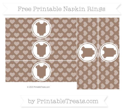 Free Beaver Brown Heart Pattern Baby Onesie Napkin Rings