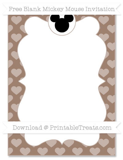 Free Beaver Brown Heart Pattern Blank Mickey Mouse Invitation