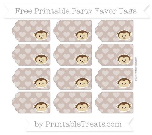 Free Beaver Brown Heart Pattern Boy Monkey Party Favor Tags