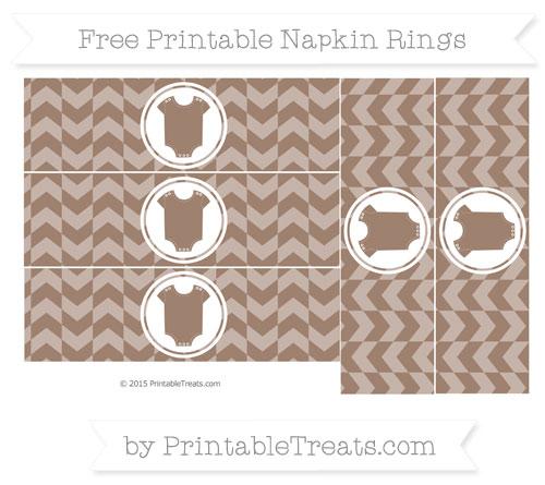 Free Beaver Brown Herringbone Pattern Baby Onesie Napkin Rings