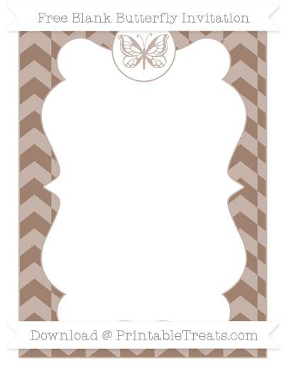 Free Beaver Brown Herringbone Pattern Blank Butterfly Invitation