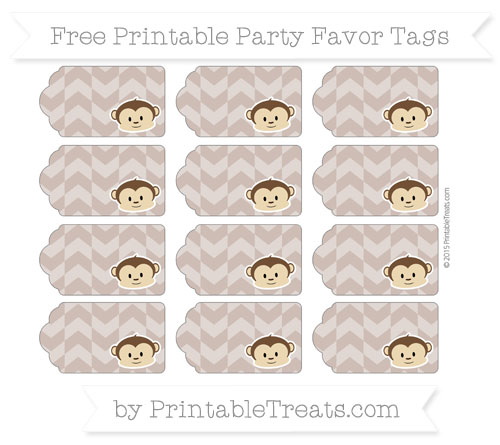 Free Beaver Brown Herringbone Pattern Boy Monkey Party Favor Tags