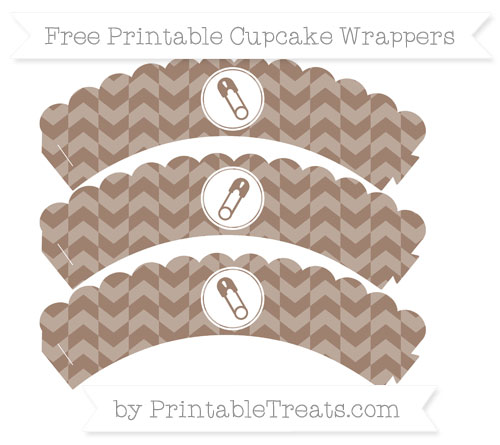Free Beaver Brown Herringbone Pattern Diaper Pin Scalloped Cupcake Wrappers