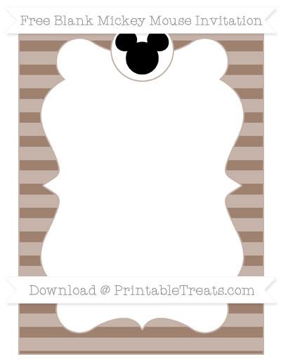Free Beaver Brown Horizontal Striped Blank Mickey Mouse Invitation