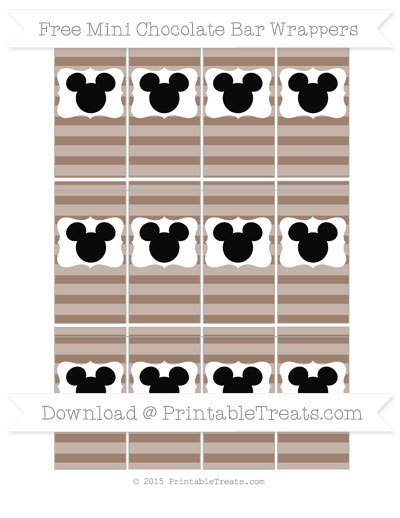 Free Beaver Brown Horizontal Striped Mickey Mouse Mini Chocolate Bar Wrappers