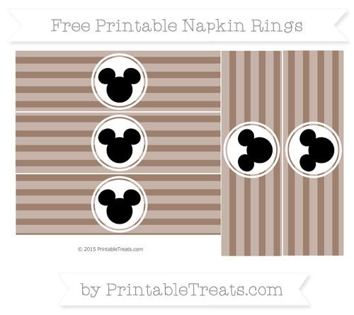 Free Beaver Brown Horizontal Striped Mickey Mouse Napkin Rings