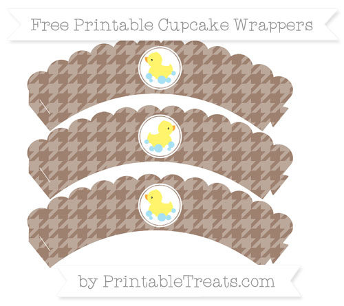 Free Beaver Brown Houndstooth Pattern Baby Duck Scalloped Cupcake Wrappers
