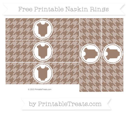 Free Beaver Brown Houndstooth Pattern Baby Onesie Napkin Rings