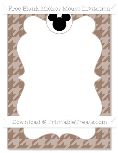 Free Beaver Brown Houndstooth Pattern Blank Mickey Mouse Invitation