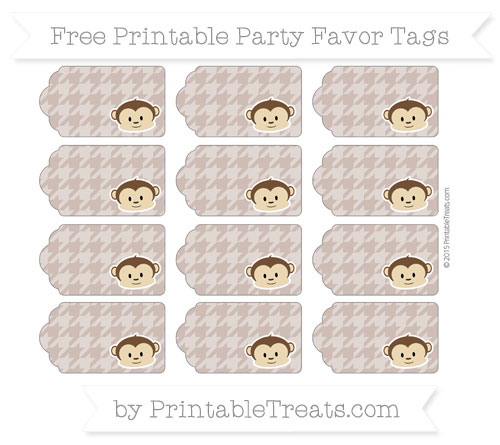 Free Beaver Brown Houndstooth Pattern Boy Monkey Party Favor Tags