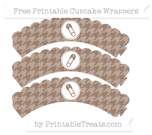 Free Beaver Brown Houndstooth Pattern Diaper Pin Scalloped Cupcake Wrappers