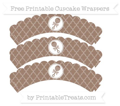 Free Beaver Brown Moroccan Tile Baby Rattle Scalloped Cupcake Wrappers