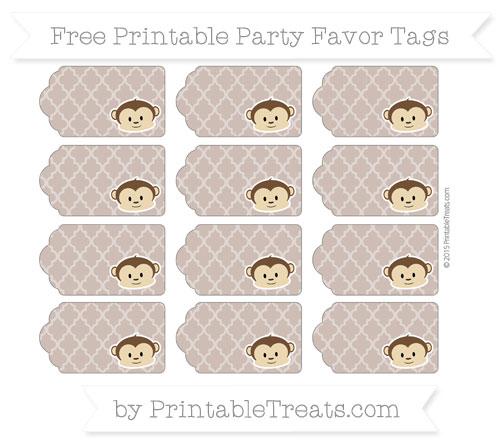 Free Beaver Brown Moroccan Tile Boy Monkey Party Favor Tags