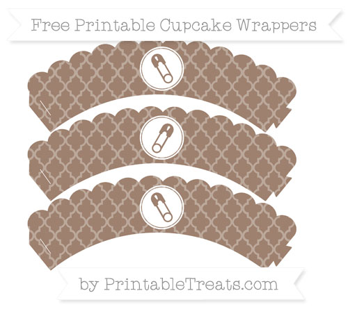 Free Beaver Brown Moroccan Tile Diaper Pin Scalloped Cupcake Wrappers