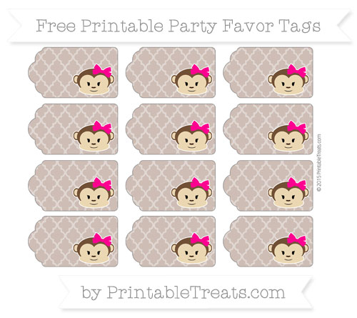 Free Beaver Brown Moroccan Tile Girl Monkey Party Favor Tags