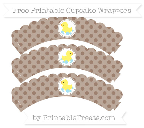 Free Beaver Brown Polka Dot Baby Duck Scalloped Cupcake Wrappers