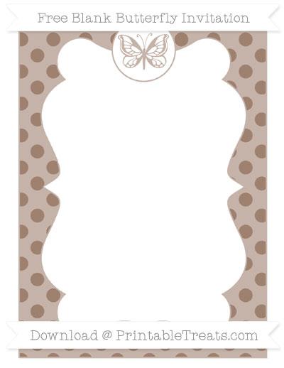 Free Beaver Brown Polka Dot Blank Butterfly Invitation