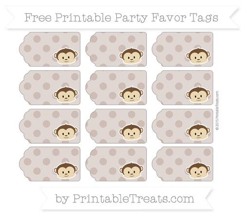 Free Beaver Brown Polka Dot Boy Monkey Party Favor Tags