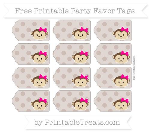 Free Beaver Brown Polka Dot Girl Monkey Party Favor Tags