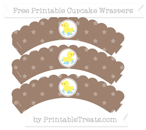Free Beaver Brown Star Pattern Baby Duck Scalloped Cupcake Wrappers
