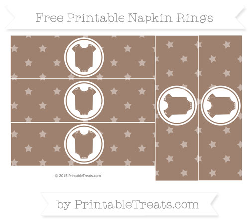 Free Beaver Brown Star Pattern Baby Onesie Napkin Rings
