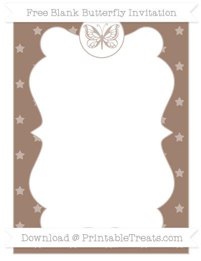 Free Beaver Brown Star Pattern Blank Butterfly Invitation