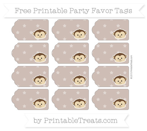 Free Beaver Brown Star Pattern Boy Monkey Party Favor Tags