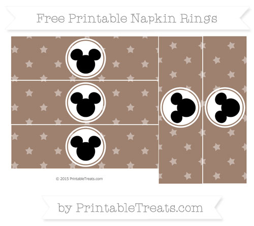 Free Beaver Brown Star Pattern Mickey Mouse Napkin Rings