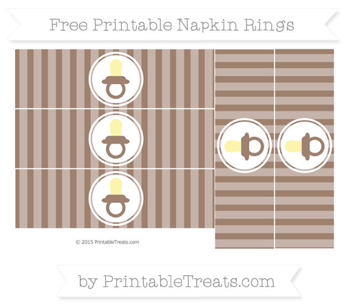 Free Beaver Brown Striped Baby Pacifier Napkin Rings